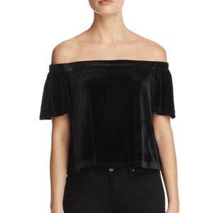 AQUA • Velvet off-the-shoulder top